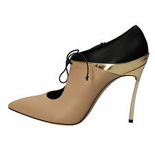 women's shoes CASADEI 7,5 (EU 37,5) ankle boots beige leather AD177-B