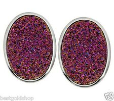 Bold Oval Pink Drusy Quartz Omega Back Stud Earrings Sterling Silver QVC J269025