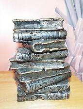 """VINTAGE OLD BOOK STACK TAPER CANDLE HOLDER DECORATION GOLD TRIM 8.5"""" UNIQUE"""