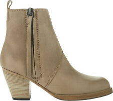 BN ACNE STUDIOS 'shearling lined pistol boots' ankle light grey suede leather 36