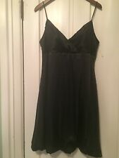 Onyx Nite black satine short and sassy evening dress, Black, size 12
