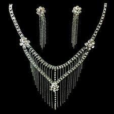 Bollywood Schmuckset BrautSchmuck Ohrringe Kette Collier Strass Silber Bauchtanz
