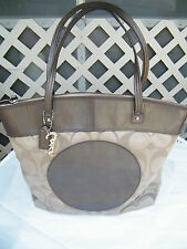 Coach Large Laura Tote in Khaki/Bronze in Very Good Condition
