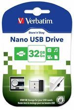 VERBATIM Store'n' Stay Nano 32gb USB 2.0 Chiavetta Flash Drive-Nero