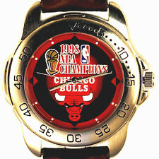 Chicago Bulls NBA Champions 1998 Sportivi New Unworn Mans Leather Watch Only $99