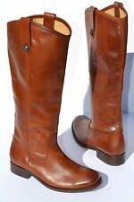 New Frye Melissa Button Cognac Leather Riding Boots Size 5.5 B