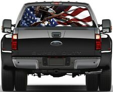 USA American Flag Weatherby Rifles Eagel  Rear Window Graphic Decal  Truck Van