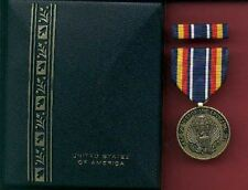 War on Terror medal in case with ribbon bar and lapel pin WOT