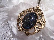 LARPING COSTUME GALAXY BLACK GLITTER Dragons BREATH Necklace Pendant MEDIEVAL