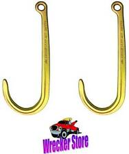 SET OF 2- G70 J HOOK with HOLE. Used on WRECKER TOW TRUCK CAR HAULER CHAIN