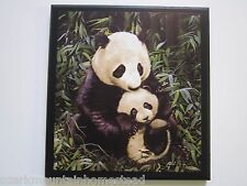 Panda Bears Wall Decor Picture, mama and baby cub bear plaque sign, kids nursery