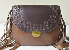 Fossil Emi Large Brown Colorblock Leather Fringe Saddle Crossbody Messenger Bag