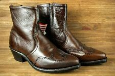 ABILENE Brown Leather Wingtip Side Zip Ankle High Cowboy Boots Men's Sz.9.5 EE