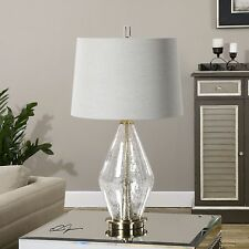 Crackled Clear Glass Contemporary Table Lamp | Cool Light Gray Shade