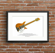 John Lennon's 1958 Rickenbacker 325 Capri - natural finish - ART POSTER A3 size