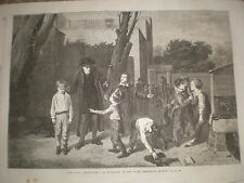 The fight interrupted by Mulready 1868 old print  Ref W1 school yard