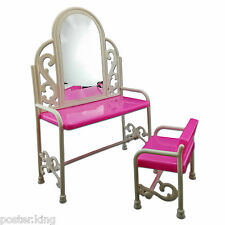 Set Vanity Mirror Desk Chair 1/6 Scale Barbie Doll's House Dollhouse Furniture