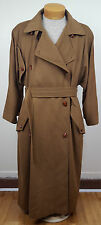 Vintage Jil Sander Pure 100% Cashmere Brown Long Trench Coat Plus Size 38 US 12