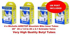 """4 x 26"""" Inch MTB MICHELIN AIRSTOP MOUNTAIN BIKE INNER TUBE TUBES 26 x 1.6 to 2.1"""