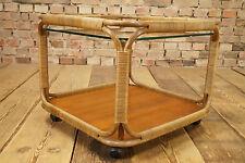 60er Teak COUCHTISCH BEISTELLTISCH COFFEE LOUNGE TABLE TISCH Bambus Glas 50s