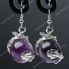 2x Natural Amethyst Stone Dragon Wrap Bead Eardrop Hook Earrings Women Jewelry