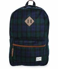 HERSCHEL SUPPLY HERITAGE SELECT 21L BACKPACK BLACK PLAID MSRP $99 NEW w/TAG!