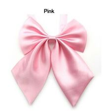 Pink Womens Girls Fashion Party Banquet Solid Color Adjustable Bow Tie Necktie