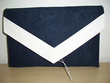 OVER SIZED NAVY BLUE & WHITE faux suede envelope clutch bag, fully lined BN,