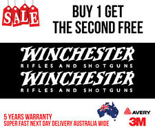 2 x WINCHESTER HUNTING DECAL STICKER FOR CAR, UTE, ESKY 200MM WIDE IN WHITE