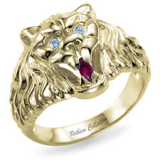 Real Mens Lion Ring with Natural Marquise Ruby and Diamonds Men Yellow Gold