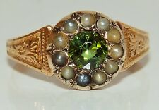 ANTIQUE 15CT YELLOW GOLD GREEN TOURMALINE & SEED PEARL RING SIZE O 1/2