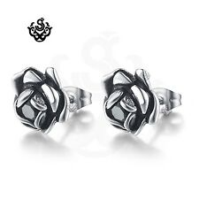 Silver stud black crystal stainless steel rose earrings vintage style