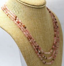 Fashion 3 rows 4mm faceted multicolor watermelon tourmaline bead necklace 17-19""