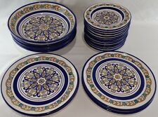 Set of Vintage BIA Cordon Bleu Hand Painted Fashion Dinnerware Blue rim