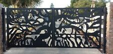 Driveway Gate Entry Dual Swing Metal Art Steel Ranch Farm Garden Iron Made in US
