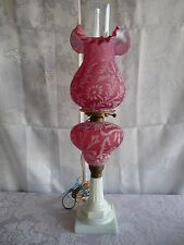 FENTON for LG WRIGHT Cranberry DAISY & FERN Opalescent Glass BANQUET PARLOR LAMP