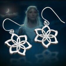 Women 925 Sterling Silver LORD OF THE RINGS NENYA Elven Queen Flower Earrings