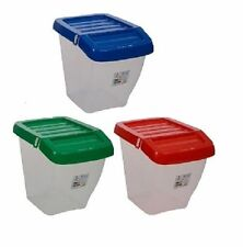 50L Recycle Bin Red Green Blue Yellow Hinged Lid Home Office Restaurant New