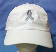 Gray Awareness Ribbon Baseball Cap Lung Brain Cancer Dyslexia White Hat New