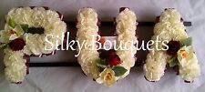 Artificial Silk Funeral Flower Wreath 3 Letter Name Floral Tribute Mum Nan Dad