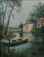 Vintage French Oil Painting on Board, The Yerres River, Jarcy Mill, Boat, Signed