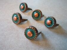 "20 Round Rope Edge Spots  5/8"" Copper And Green/Blue Patina  2 Prong"