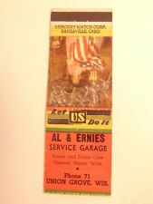 match book cover w/ Betsy Ross :ad for Al & Ernies Garage, Union Grove,Wisconsin