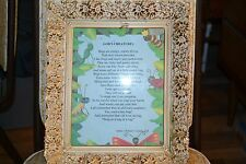"""Old picture frame with poem """"God's Creatures"""" by author Robert F Grames, D.R."""