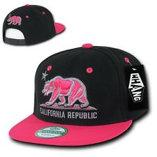Black & Hot Pink California Republic Bear Flat Bill Snapback Snap Back Cap Hat