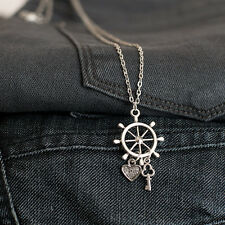 Antique Silver Sailer Nautical Ship Wheel with Love Heart and Key Necklace