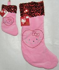 Hello Kitty CHRISTMAS STOCKING SET PLUSH PINK VELVET LARGE MINI FREE SHIPPING
