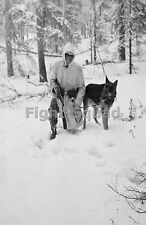 WW2 Picture Photo German Waffen-SS soldier with dog in snow Norway 1940  1331