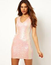 LIPSY by ASOS Mini Dress Iridescent Pink Sequin SzAU 6 XS Party Cocktail Evening