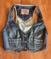 VTG 90s GUESS Jeans Denim Vest Cropped STRETCH Button Corset JEAN VEST S/XS USA